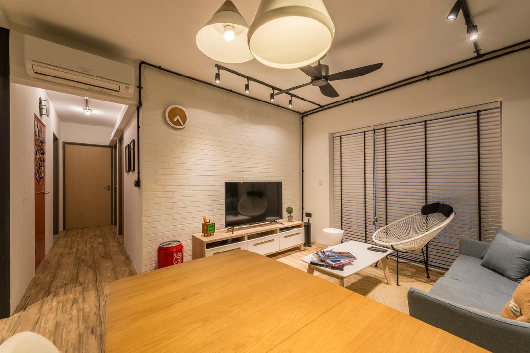 Skyville @ Dawson, Voila, Eclectic, Living Room, HDB, Chair, Furniture, Indoors, Interior Design, Light Fixture, Hammock, Corridor, Room