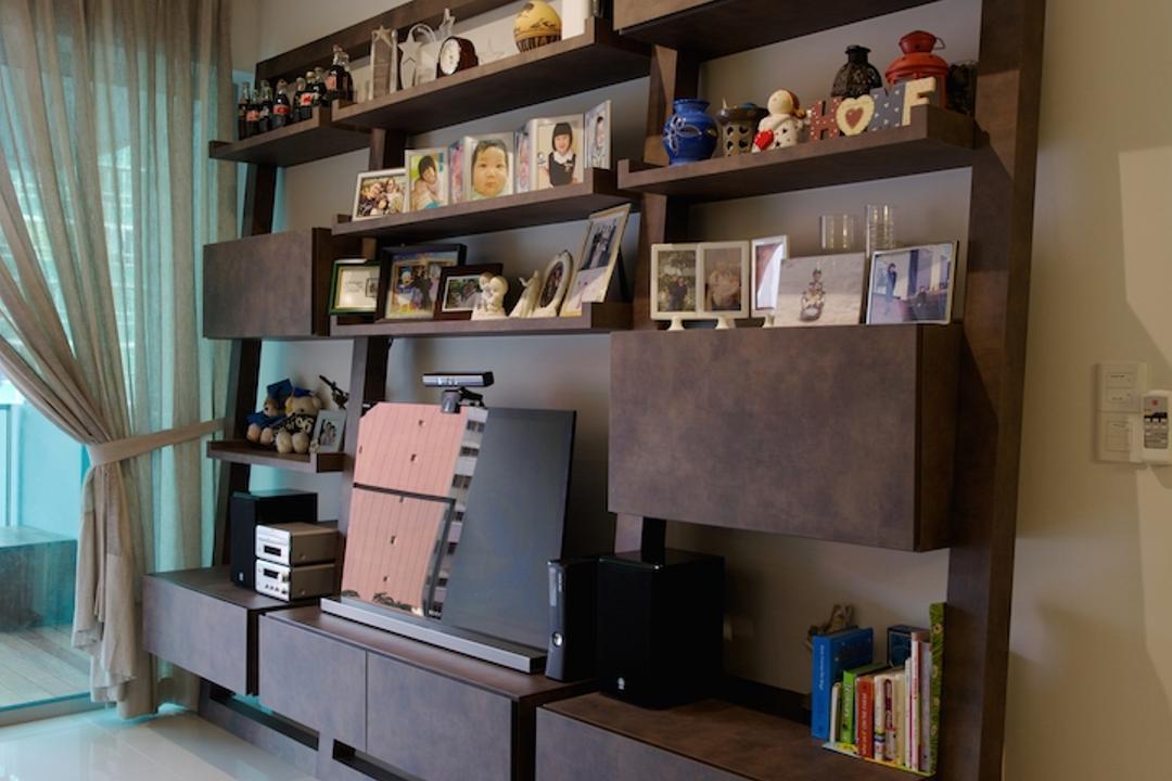 Miltonia, Dyel Design, Scandinavian, Living Room, Condo, Wooden Display Shelf, Wooden Shelf, White Trackier, Track Light, Curtains, Bookcase, Furniture