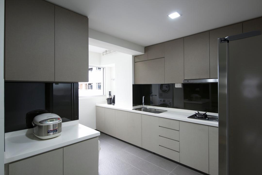 28 Cassia Crescent, Dyel Design, Modern, Kitchen, HDB, White Laminate, White Counter, Laminate