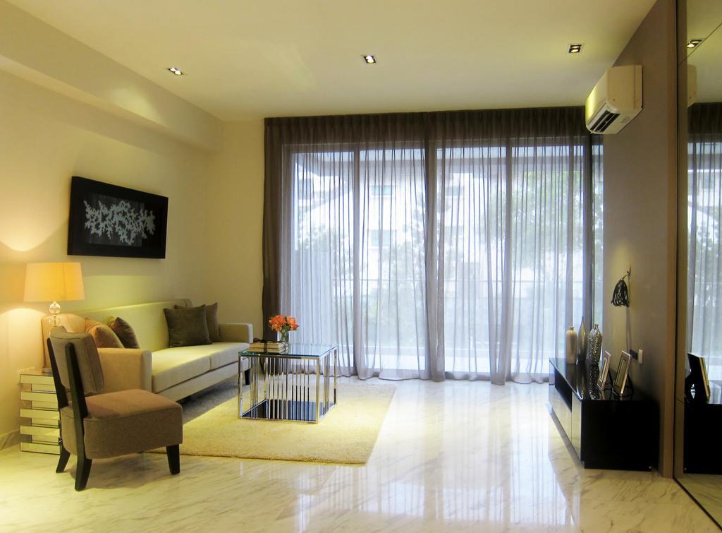 Modern, Condo, Living Room, Holland 100, Interior Designer, Designe Couture, Curtains, Full Length Mirrors, Wall Art, Painting, Marble Floor, Carpet