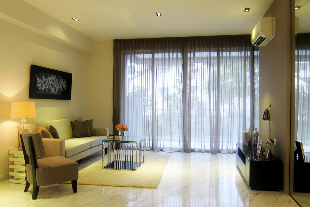 Holland 100, Designe Couture, Modern, Living Room, Condo, Curtains, Full Length Mirrors, Wall Art, Painting, Marble Floor, Carpet
