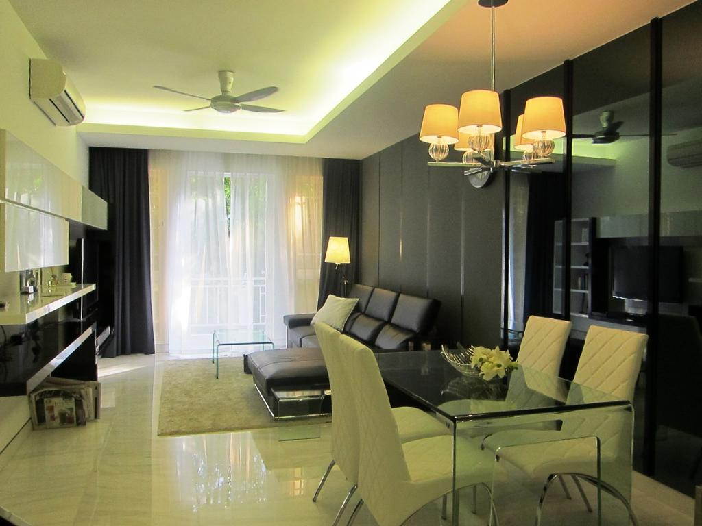 Modern, Condo, Living Room, Villa Marina, Interior Designer, Designe Couture, Cove Light, Concealed Lighting, Concealed Light, Glass Table, Leather Chair, Curtains, Leather Sofa