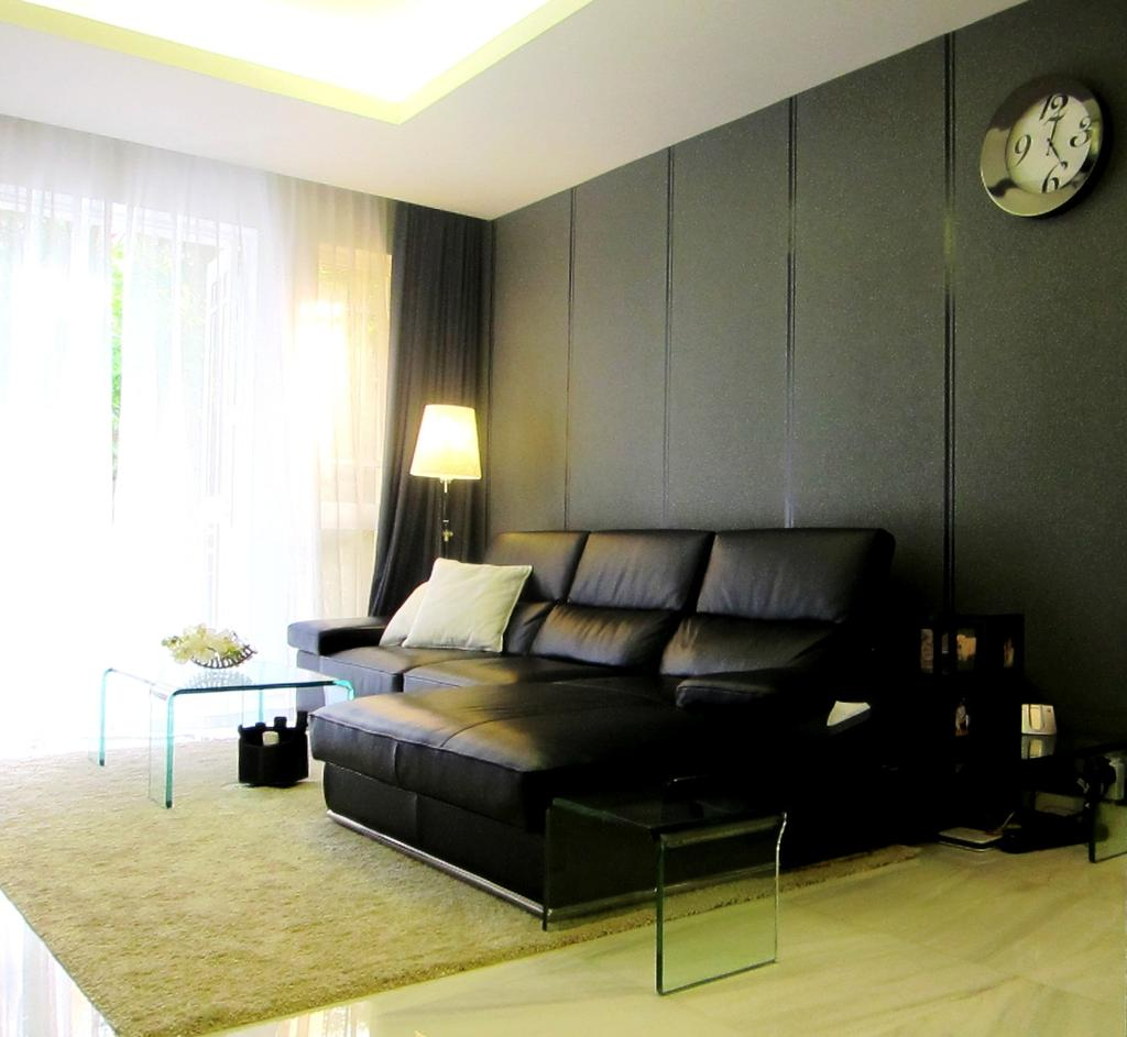 Modern, Condo, Living Room, Villa Marina, Interior Designer, Designe Couture, Concealed Light, Cove Light, Cove Lighting, Glass Table, Standing Lamp, Curtains, Leather Sofa