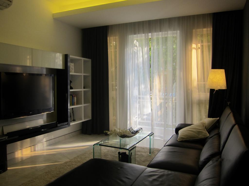 Modern, Condo, Living Room, Villa Marina, Interior Designer, Designe Couture, Curtains, Display Shelf, Leather Sofa, Standing Lamp, Glass Table, Glass Coffee Table