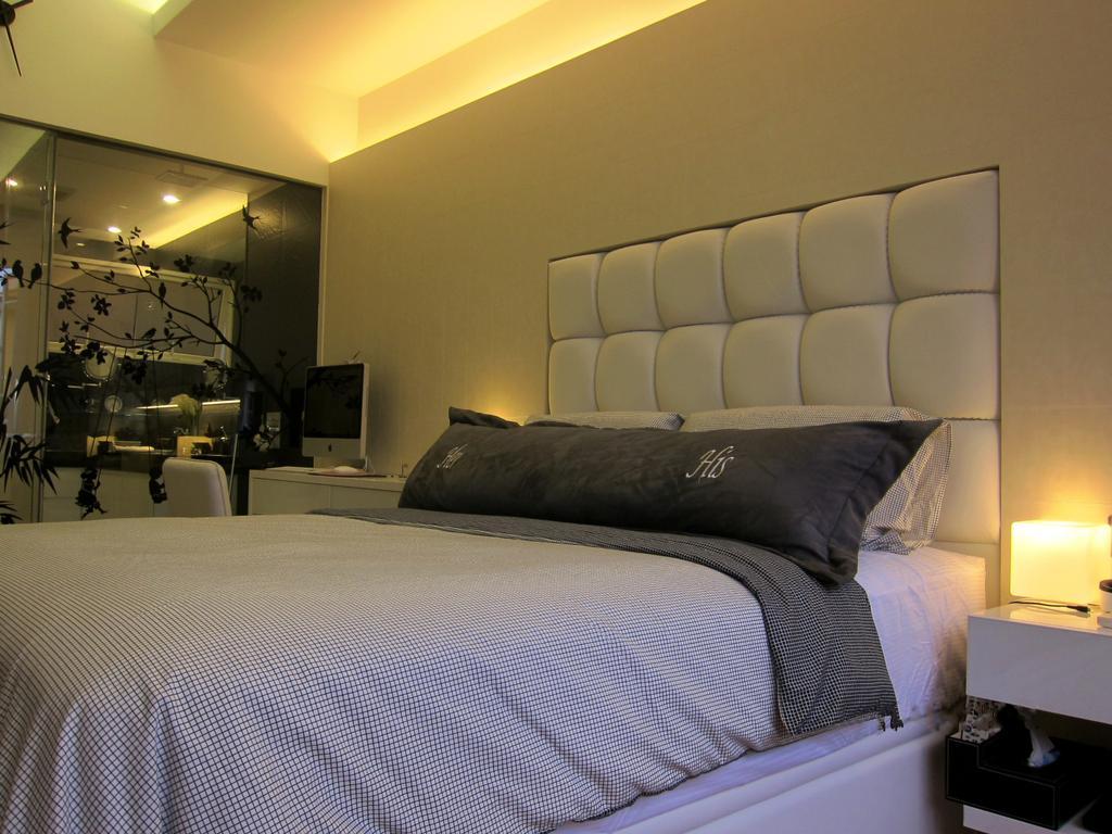 Modern, Condo, Bedroom, Villa Marina, Interior Designer, Designe Couture, Cove Light, Concealed Lighting, Concealed Light, Headboard, Bedside Table, Bedside Lamp