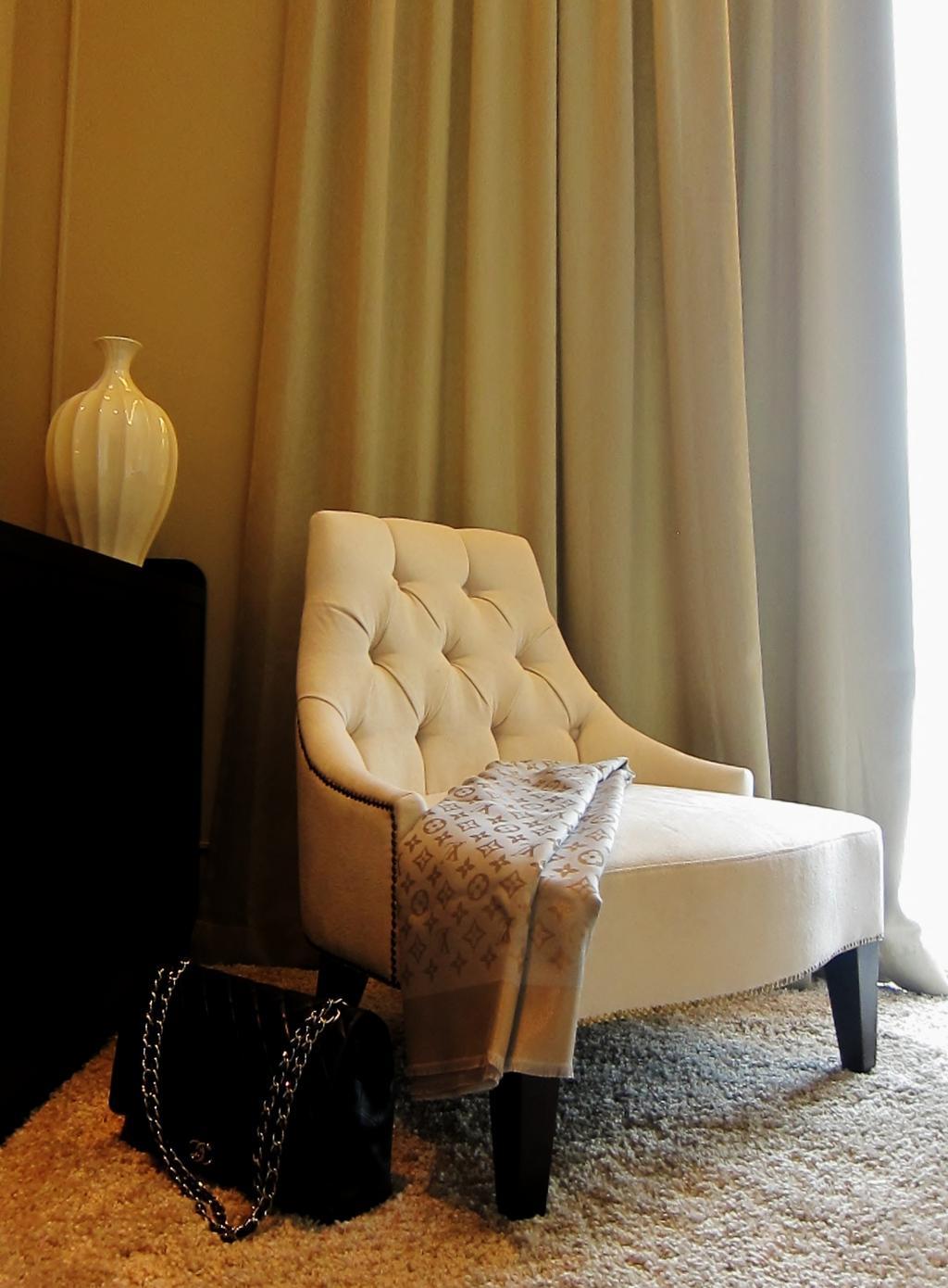 Modern, Condo, Bedroom, Residences @ Evelyn, Interior Designer, Designe Couture, Arm Chair, Armchair, Carpet, Curtains