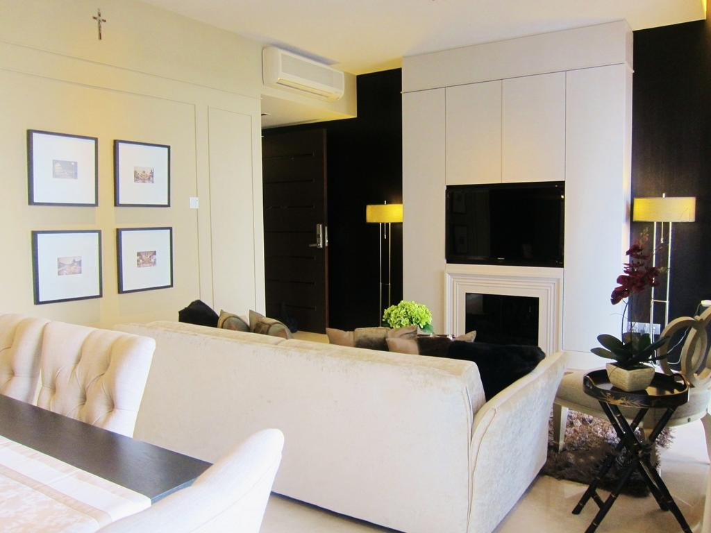 Modern, Condo, Living Room, Residences @ Evelyn, Interior Designer, Designe Couture, Wall Art, Frames, White Walls, Laminate, Standing Lamp