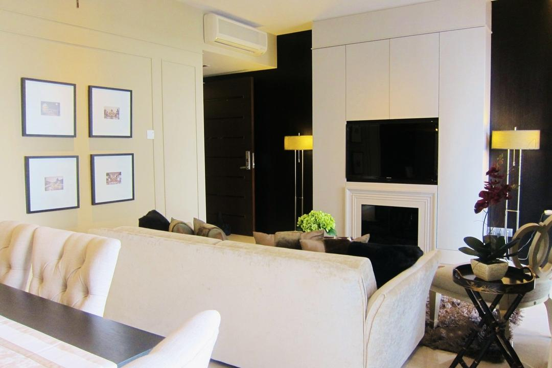 Residences @ Evelyn, Designe Couture, Modern, Living Room, Condo, Wall Art, Frames, White Walls, Laminate, Standing Lamp