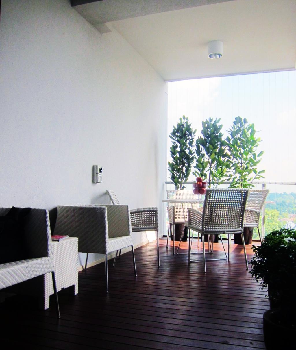 Modern, Condo, Balcony, Residences @ Evelyn, Interior Designer, Designe Couture, Outdoor, Balcony Chairs, Wooden Flooring, Plank Flooring