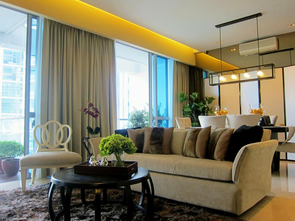 Modern, Condo, Living Room, Residences @ Evelyn, Interior Designer, Designe Couture, Curtains, Hanging Light, Carpet, Coffee Table, Concealed Light, Concealed Lighting, Full Length Windows