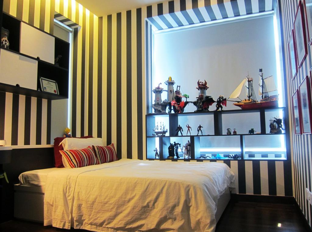 Modern, Condo, Bedroom, Residences @ Evelyn, Interior Designer, Designe Couture, Wallpaper, Monochrome, Striped Wall, Display Shelf, Wall Art, Painting