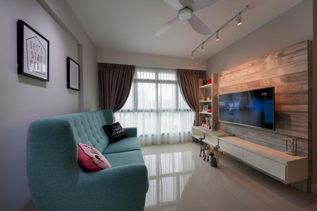 Punggol Waterway Cascadia, Starry Homestead, Scandinavian, Living Room, HDB, Modern Contemporary Living Room, Track Lights, Ceiling Fan, Wall Mounted Television, Floating Television Console, Sling Curtain, Blue Sofa, Marble Floor, Wall Mounted Shelves, Couch, Furniture