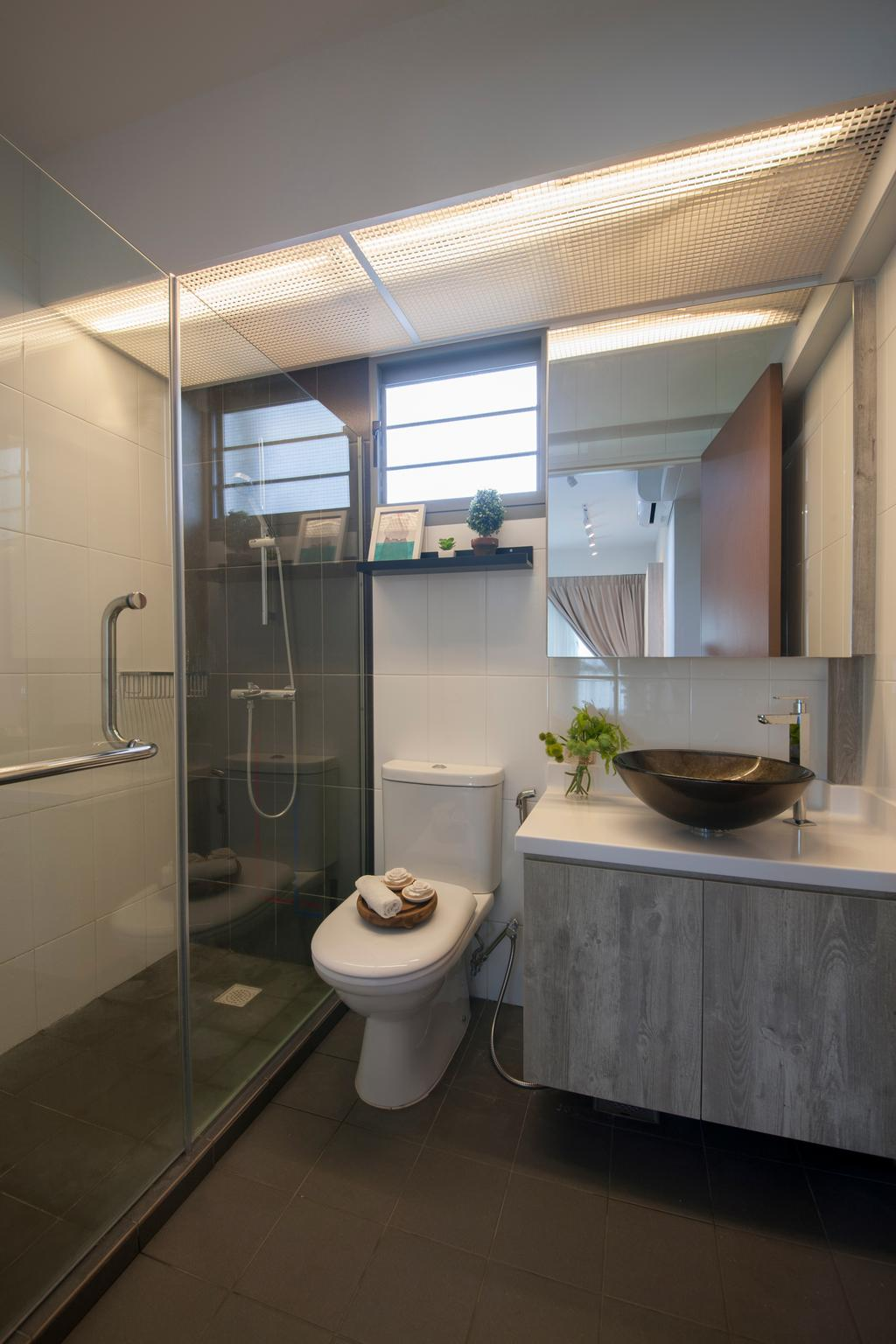 Scandinavian, HDB, Bathroom, Punggol Waterway Cascadia, Interior Designer, Starry Homestead, Modern Contemporary Bathroom, Wooden Bathroom Cabinet, White Sink Countertop, Protruding Sink, Hidden Interior Lighting, Glass Panelled Shower, Flora, Jar, Plant, Potted Plant, Pottery, Vase, Indoors, Interior Design, Room
