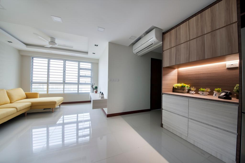 Modern, HDB, Living Room, Tree Trail @ Woodlands, Interior Designer, Starry Homestead, Modern Contemporary Living Room, Sectional Sofa, Marble Floor, Wooden Cabinet, Hidden Interior Lighting, Recessed Lights, Ceiling Fan, Wall Mounted Shelve, Roll Down Curtain, Indoors, Interior Design