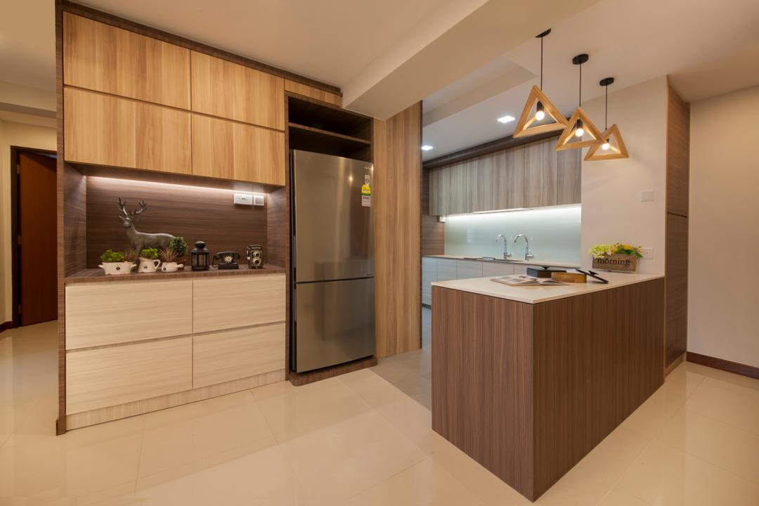 Tree Trail @ Woodlands, Starry Homestead, Modern, Dining Room, HDB, Modern Contemporary Dining Room, Wooden Kitchen Counter, White Laminated Top, Hanging Lights, Wall Mounted Wooden Cabinet, Indoors, Interior Design, Kitchen, Room