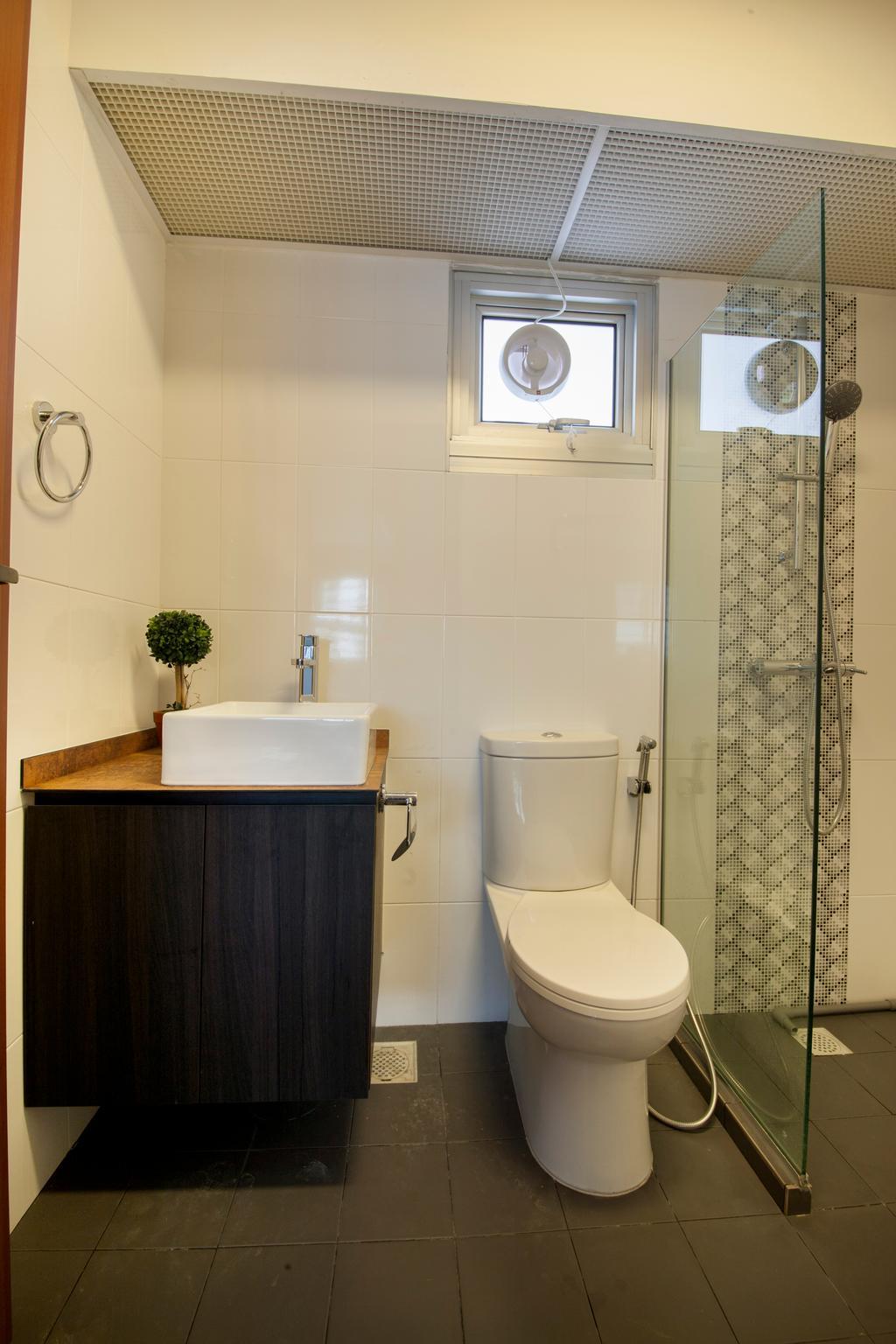 Modern, HDB, Bathroom, Tree Trail @ Woodlands, Interior Designer, Starry Homestead, Modern Contemporary Bathroom, Wooden Bathroom Cabinet, Glass Panelled Shower, Ceramic Tiles, Indoors, Interior Design, Room, Toilet