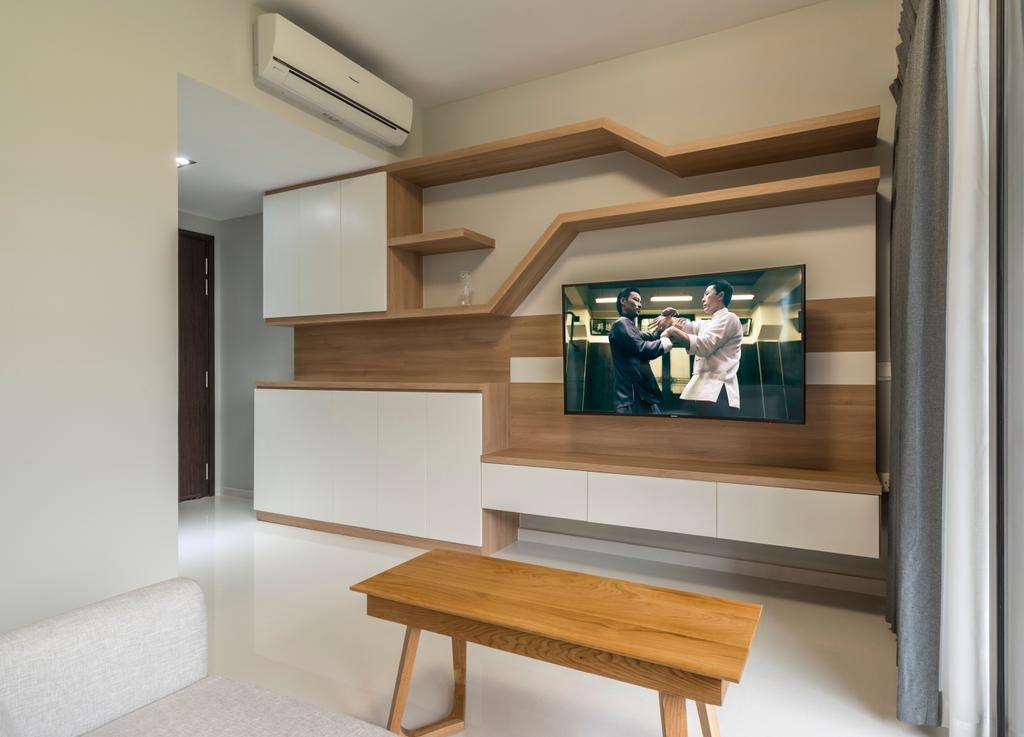 Scandinavian, Condo, Living Room, The Inflora, Interior Designer, Starry Homestead, Wooden Table, Wall Mounted Wooden Television, Recessed Lights, Wall Mounted Wooden Panel, Furniture, Indoors, Interior Design