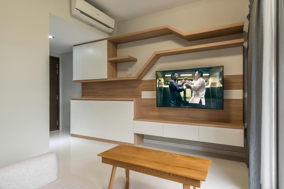 The Inflora, Starry Homestead, Scandinavian, Living Room, Condo, Wooden Table, Wall Mounted Wooden Television, Recessed Lights, Wall Mounted Wooden Panel, Furniture, Indoors, Interior Design