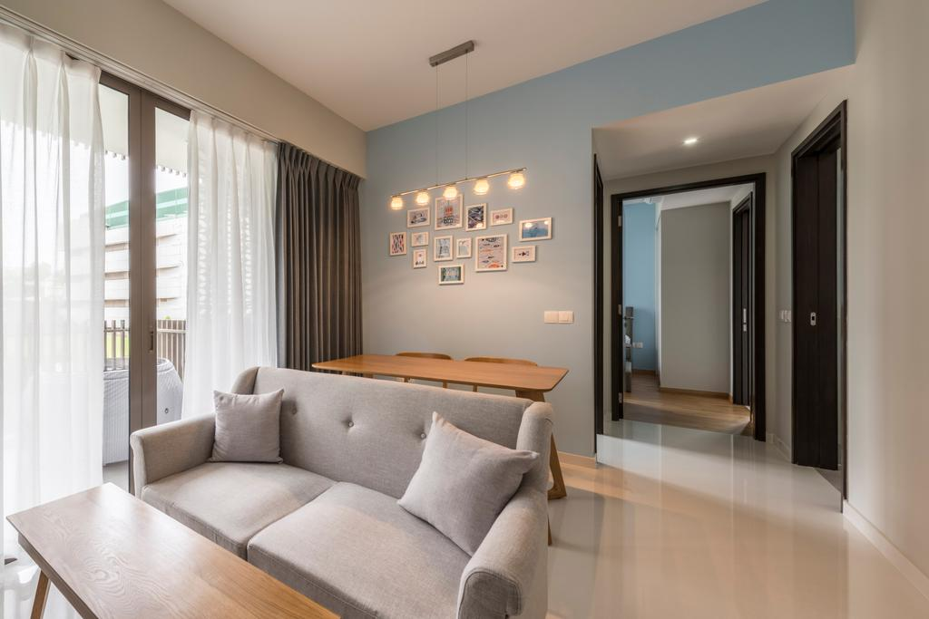 Scandinavian, Condo, Living Room, The Inflora, Interior Designer, Starry Homestead, Modern Contemporary Living Room, Wall Mounted Lights, Wooden Table, Marble Floor, Sling Curtain, Recessed Lights, Loveseat, Couch, Furniture, Carpet, Home Decor, Indoors, Room