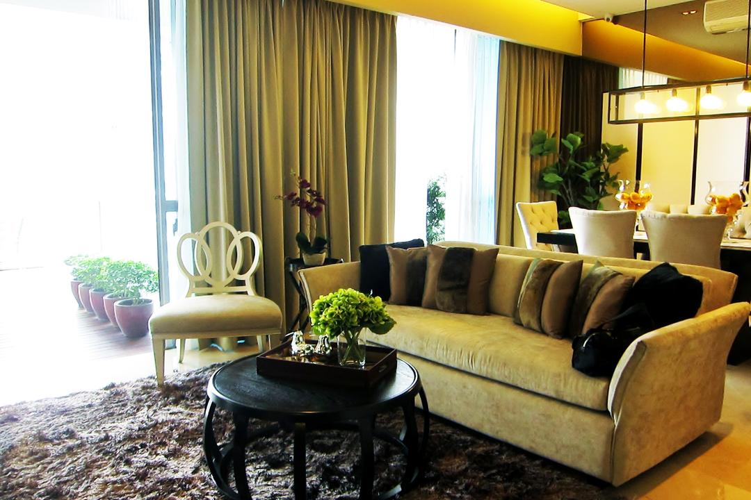 Residences @ Evelyn, Designe Couture, Modern, Living Room, Condo, Carpet, Sofa, Hanigng Light, Curtains, Coffee Table