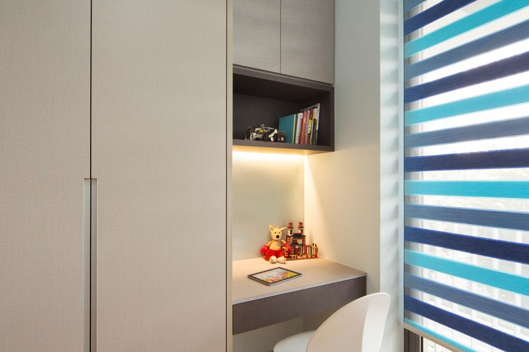 Sky Habitat, Yonder, Modern, Minimalistic, Study, Condo, Wooden Door, Hidden Interior Lighting, White Study Chair, Wall Mounted Shelve, Roll Down Curtain, White Wardrobe, Sink