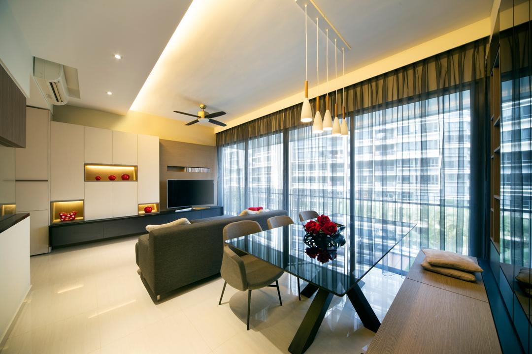 The Palette, Yonder, Modern, Dining Room, Condo, Glass Dining Table, Dining Chair, , Modern Contemporary Dining Room, Recessed Lights, Hidden Interior Lighting, Chair, Furniture