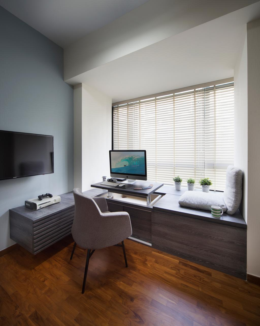 Modern, Condo, Study, The Palette, Interior Designer, Yonder, Wooden Floor, Roll Down Curtain, Wall Mounted Television, Tifanny Wall, Wooden Desk, Modern Contemporary Study Room, Chair, Furniture, Computer, Electronics, Pc, Indoors, Interior Design