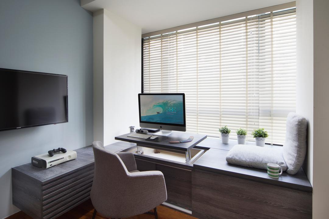 The Palette, Yonder, Modern, Study, Condo, Wooden Floor, Roll Down Curtain, Wall Mounted Television, Tifanny Wall, Wooden Desk, Modern Contemporary Study Room, Chair, Furniture, Computer, Electronics, Pc, Indoors, Interior Design