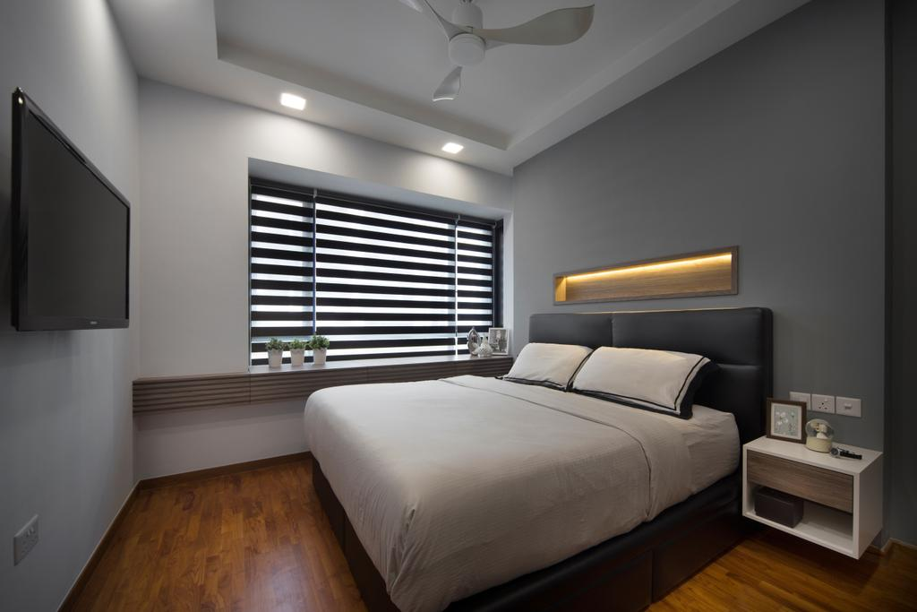 Modern, Condo, Bedroom, The Palette, Interior Designer, Yonder, Roll Down Curtain, Recessed Lights, Coffered Ceiling, Ceiling Fan, King Size Bed, Wooden Floor, Hidden Interior Lighting, Cozy, Cosy, Wall Mounted Television, Indoors, Interior Design, Room
