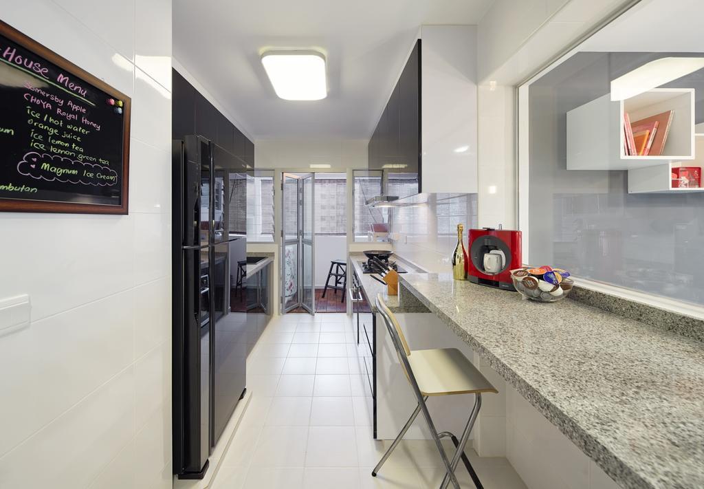 Modern, HDB, Kitchen, Fernvale Rivergrove, Interior Designer, Absolook Interior Design, Blackboard, Molding