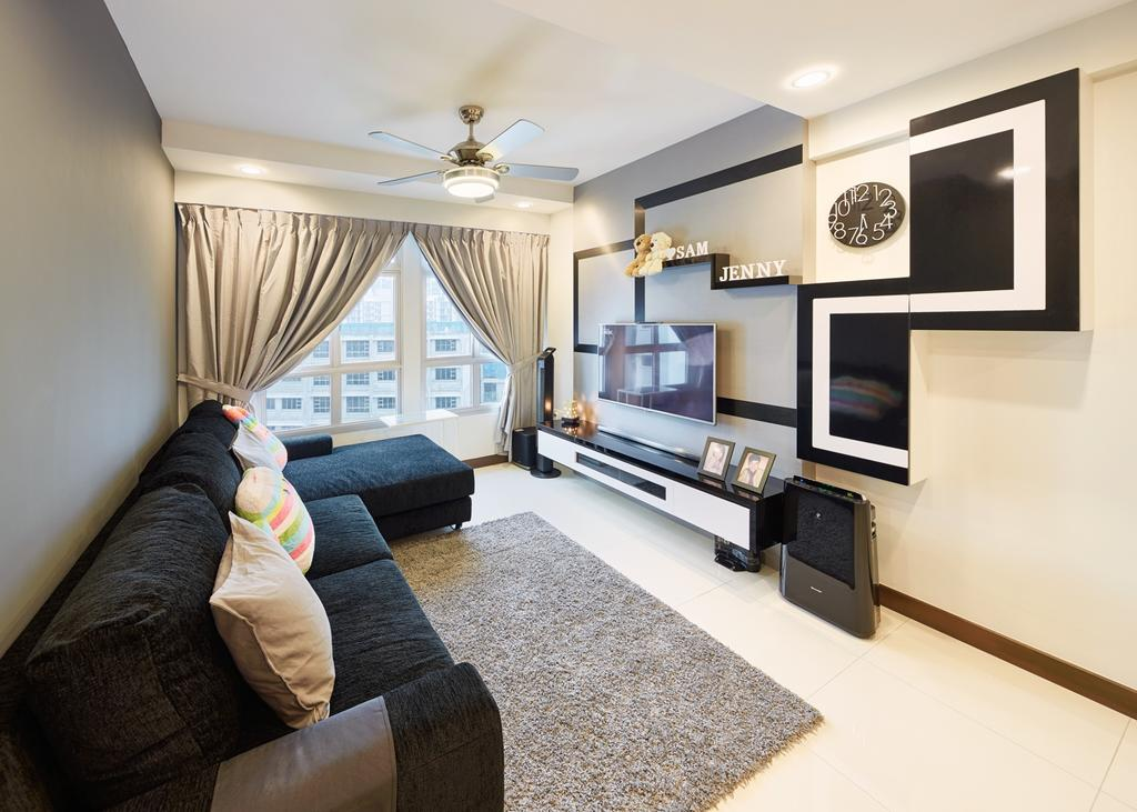 Modern, HDB, Living Room, Fernvale Rivergrove, Interior Designer, Absolook Interior Design, Electronics, Entertainment Center, Indoors, Room