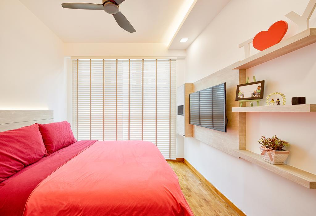 Eclectic, Condo, Bedroom, One Canberra, Interior Designer, Absolook Interior Design, Shelf, Indoors, Interior Design, Room, Propeller, Curtain, Home Decor, Window, Window Shade