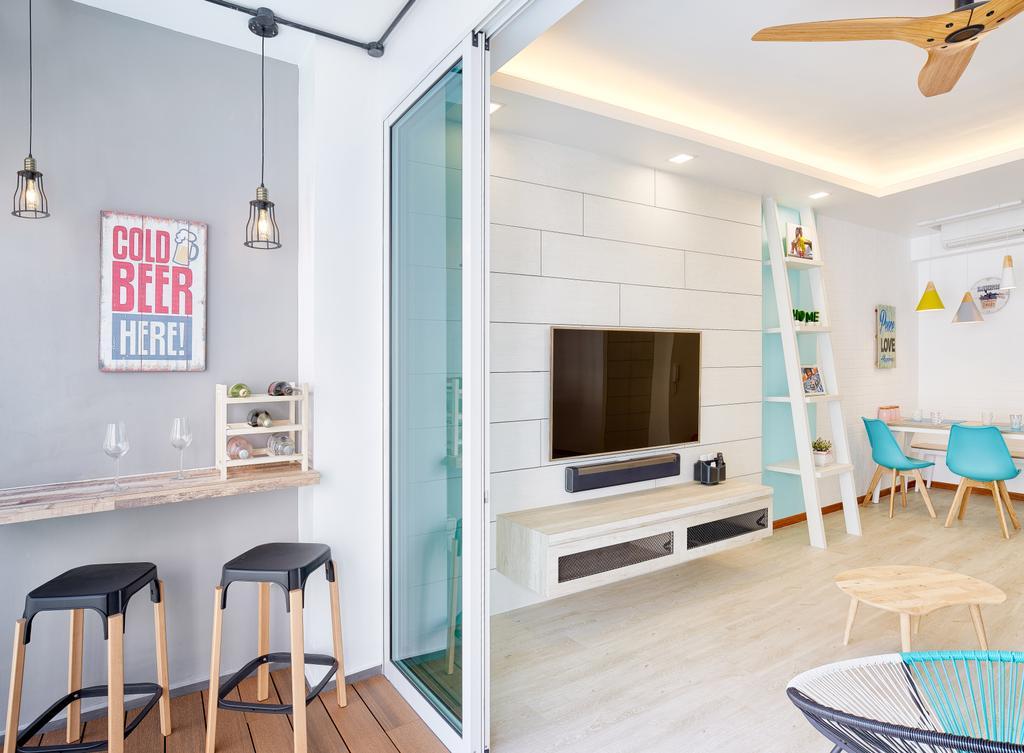 Eclectic, Condo, Living Room, One Canberra, Interior Designer, Absolook Interior Design, Bar Stool, Furniture, Indoors, Interior Design, Chair