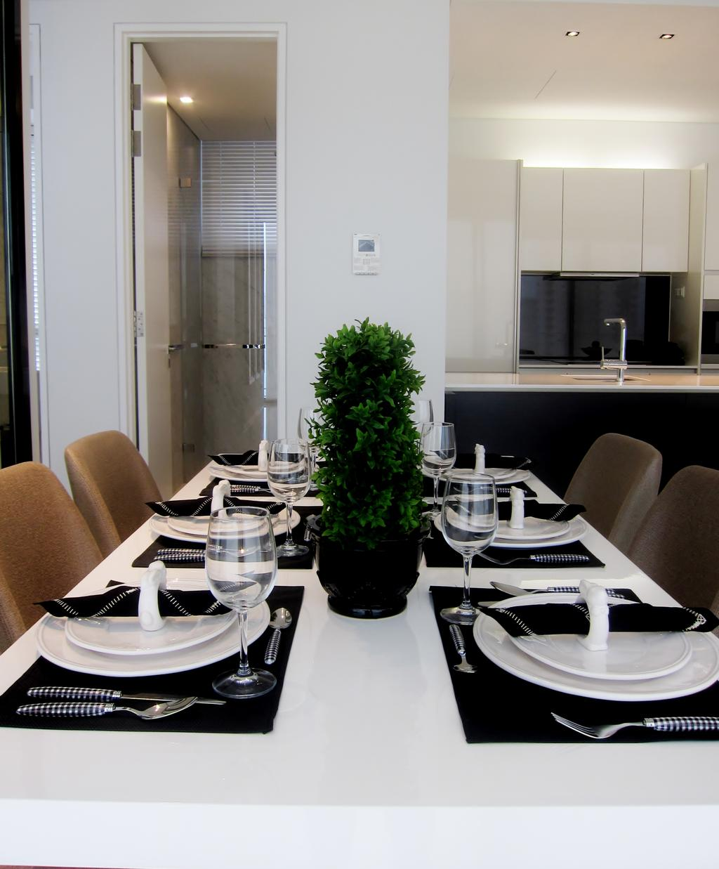 Modern, Condo, Dining Room, Scotts Square 2, Interior Designer, Designe Couture, White Laminate, Laminate, White Walls