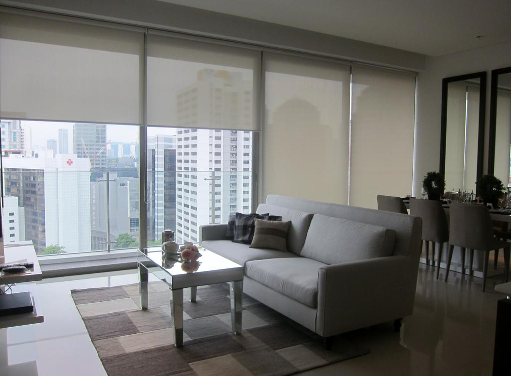 Modern, Condo, Living Room, Scotts Square 2, Interior Designer, Designe Couture, Carpet, Blinds, Coffee Tbale, Full Length Windows