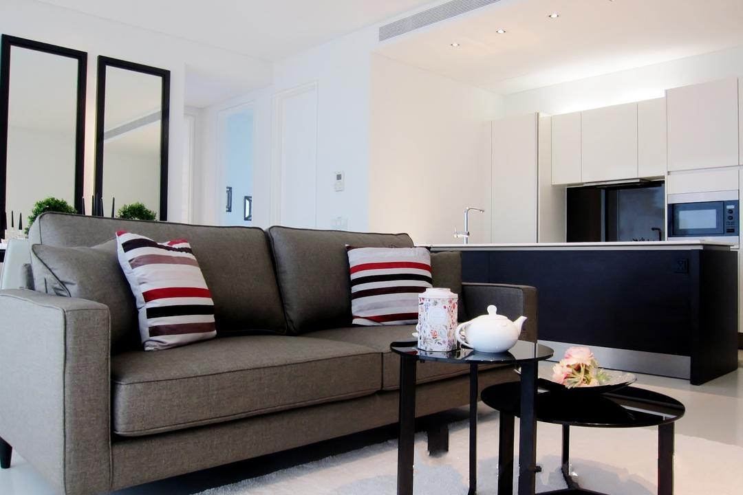 Scotts Square 3, Designe Couture, Modern, Living Room, Condo, Mirror, Sofa, Coffee Table, White Carpet