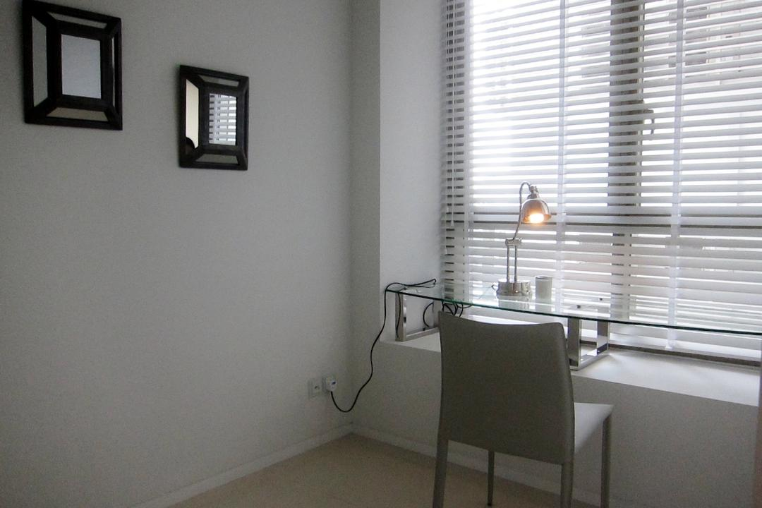 Scotts Square 3, Designe Couture, Modern, Study, Condo, Glass Table, Venetian Blinds, Frames, Wall Art, Table Lamp