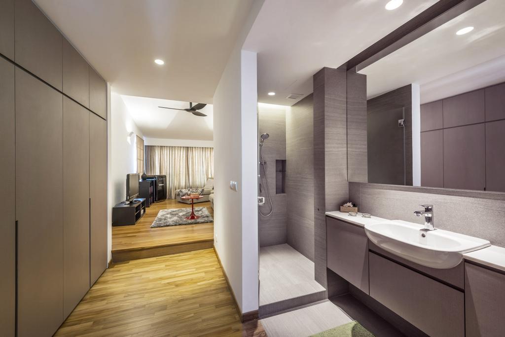Modern, Landed, Bathroom, Kew Drive, Interior Designer, akiHAUS, White Sink, Sink, Flooring, Indoors, Interior Design, Room, Door, Sliding Door