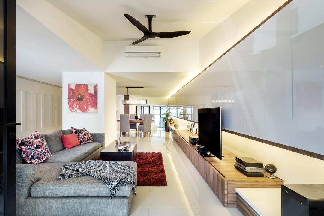 Kew Drive, akiHAUS, Modern, Living Room, Landed, Ceiling Fan, Fan, L Shaped Sofa, Carpet, Tea Table, Flatscreen Tv, Tv, Couch, Furniture, Indoors, Interior Design