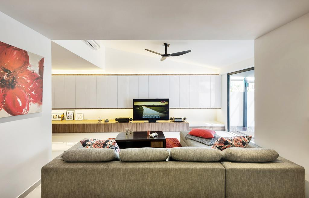 Modern, Landed, Living Room, Kew Drive, Interior Designer, akiHAUS, L Shaped Sofa, Sofa, Couch, Furniture