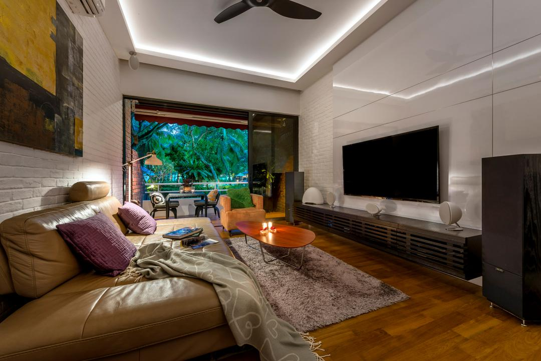 Eastern Lagoon, akiHAUS, Eclectic, Living Room, Condo, Sofa, Carpet, Painting, Brick Walls, Ceiling Fan, Fan, Wall Mounted Tv, Tv