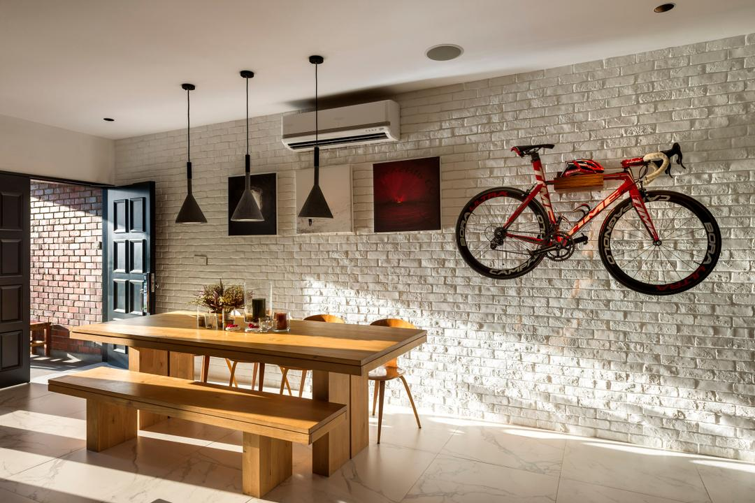 Eastern Lagoon, akiHAUS, Eclectic, Dining Room, Condo, Entrance, Brick Wall, Bicycle, Bicycle On Wall, Pendant Lighting, Lighting, Brick, Fireplace, Hearth, Furniture