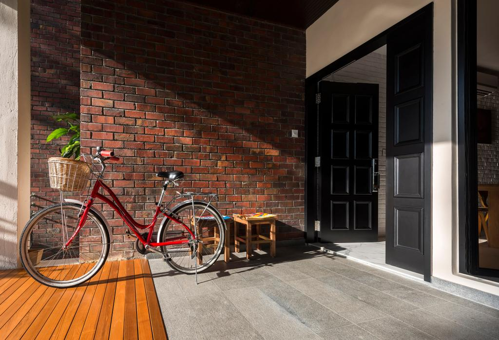 Eclectic, Condo, Eastern Lagoon, Interior Designer, akiHAUS, Porch, Foyer, Entrance, Bicycle, Brick Wall, Brick, Shopping Cart