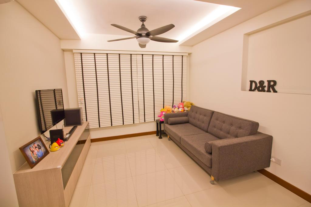 Modern, HDB, Living Room, Punggol Drive (Block 664B), Interior Designer, MET Interior, Couch, Furniture, Electric Fan, Indoors, Interior Design