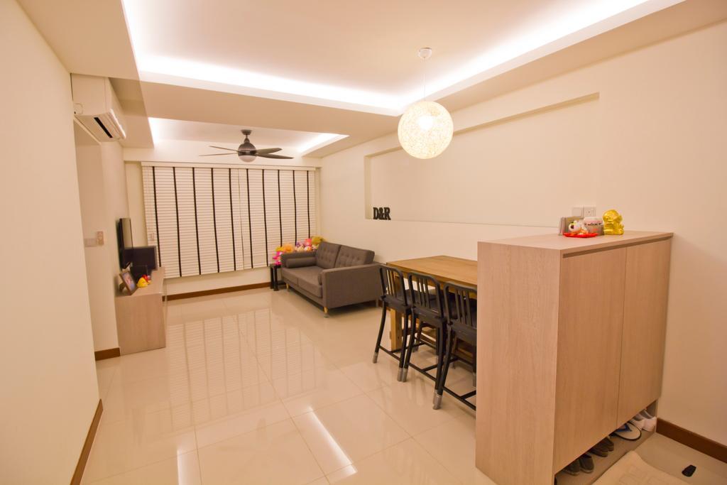 Modern, HDB, Living Room, Punggol Drive (Block 664B), Interior Designer, MET Interior, Dining Table, Furniture, Table, Building, Housing, Indoors