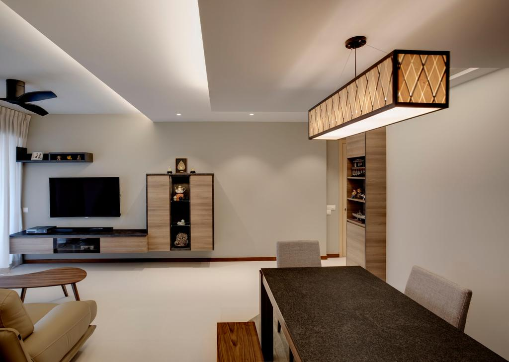 Modern, Condo, Living Room, A Treasure Trove, Interior Designer, Liid Studio, Brown Pendant Light, Lantern Lamp, Woody, Brown Tones, Shades Of Browns, Simple, Cove Lighting, Couch, Furniture, Banister, Handrail