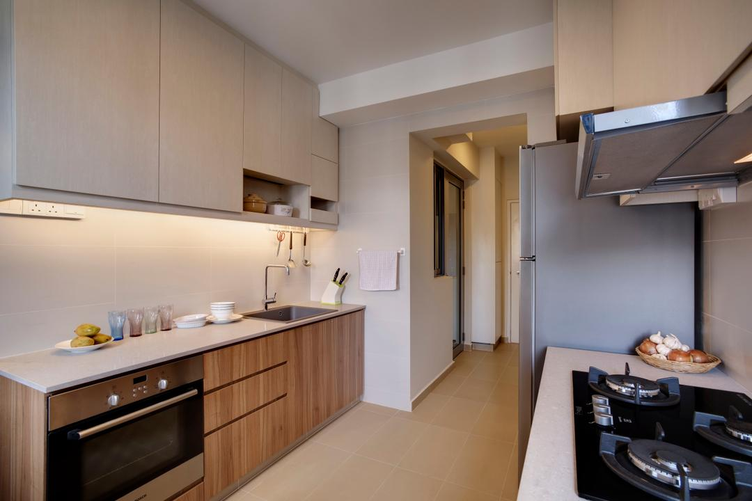 A Treasure Trove, Liid Studio, Modern, Kitchen, Condo, Solid Countertop, Kitcen Counterop, Stove, Knobless, Under Cabinet Lighting, Oven, Hob, Hood, Countertop, Indoors, Interior Design, Room, Appliance, Electrical Device
