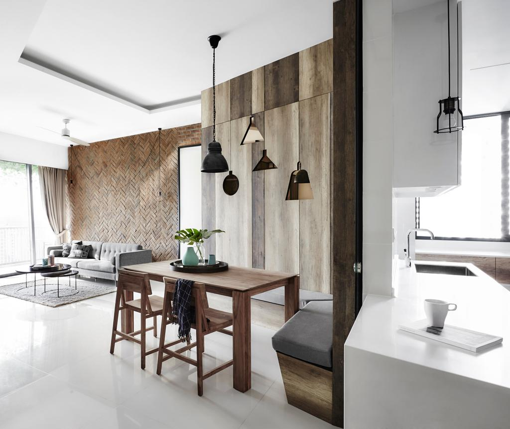 Industrial, Condo, Dining Room, D'Leedon, Interior Designer, Dan's Workshop, Hallway, Corridor, Walkway, Open Kitchen, Open Concept, Bright And Airy, Dull Colours, White And Brown, Brown And White, Neutral Colours, Wooden Dining Set, Wooden Feature Wall, Wooden Settee, Wall Settee, Dining Settee, Dining Table, Furniture, Table, Indoors, Interior Design, Sink, Chair
