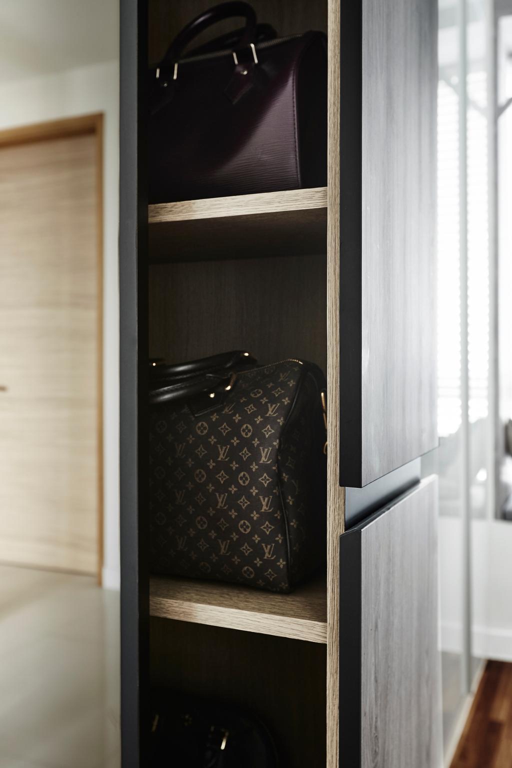 Industrial, Condo, Bedroom, D'Leedon, Interior Designer, Dan's Workshop, Cabinet Side Storage, Cabinet Storage, Bags Display, Wardrobe, Cabinet