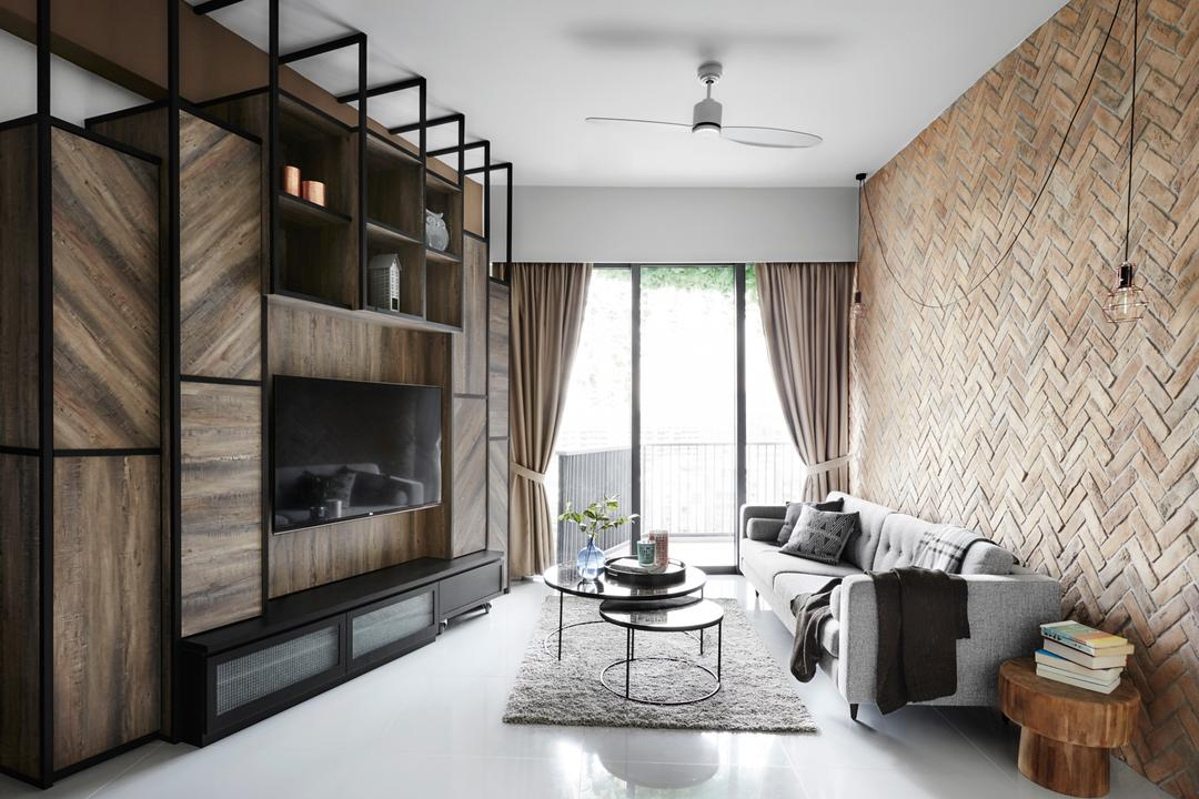 D'Leedon, Dan's Workshop, Industrial, Living Room, Condo, Expansive, Bright And Airy, Vertical Storage, Full Length Cabinet, Herringbone, Feature Wall, Chevron Wall, Area Rug, Coffee Table, Side Table, Decor, Display, Rustic, Indoors, Interior Design, Fireplace, Hearth, Room